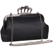 Millya Women PU Leather Evening Party Clutch Bag with Skull Knuckle Ring Punk Style Chain Shoulder Bag Handbag