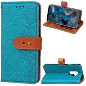 Galaxy S9 Plus Case,ARSUE Premium Emboss Flower Soft Flip Folio PU leather wallet case with ID & Credit Card Pockets and Kickstand Protective Case Covers for Samsung Galaxy S9 Plus - Blue