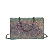 Women Girl Crossbody Bag Fashion Leather Shoulder Bag with Bling Sequins Party Club Night Out Bag Gift
