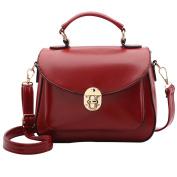 Millya Women's PU Leather Tote Handbag Vintage Designer Top Handle Bag Retro Luxury Square Shoulder Bag