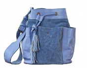 FLEUR Lavender Blue Cow Nubuck Leather Tote Bucket Bag Vintage Style PAUL MARIUS