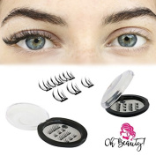 Oh Beauty! Magnetic Eyelashes [No Glue] Premium Quality Reusable 3D Handmade False Eyelashes - Ultra-Thin & Lightweight for Natural Look – Fast and Easy Application - Cover the Entire Eyelids