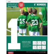 9-279 Sport Letter Polyvinyl Transfers 20cm Team Pack 6 Sheets/Pkg-White