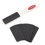 Professional Pedicure Foot File - Reusable Handle with (10 pcs) Replacement Filing Pad + 1 Pedi Smooth Buffing Pad