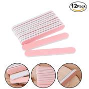 Misright 12Pcs Professional Nail Art Manicure Round Sanding File Buffer Beauty Tool