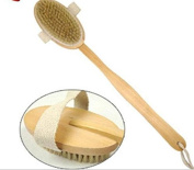 Natural Bath Body Brush With Long Bamboo Handle Bath Back Scrubber+ Boar Bristles Detachable Dry Skin Bath Brush