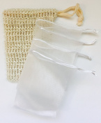AHA Combo 5 Soap Saver Bags/ set – 1 Natural Sisal & 4 White Double Layer Mesh Bags Pouch for Shower sold by AHA WINWIN LLC