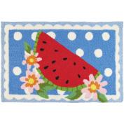 Jellybean Watermelon On Polka Dots Kitchen Indoor/Outdoor Machine Washable 50cm x 80cm Accent Rug