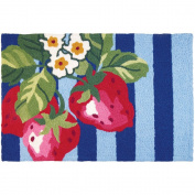 Jellybean Blossoming Strawberries Kitchen Indoor/Outdoor Machine Washable 50cm x 80cm Accent Rug