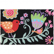 Jellybean Songbirds On Black FLORAL Indoor/Outdoor Machine Washable 50cm x 80cm Accent Rug