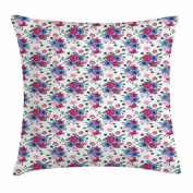 Shabby Chic Throw Pillow Cushion Cover, Victorian Garden in Springtime Bouquet of Colourful Flowers Anemones Eustoma, Decorative Square Accent Pillow Case, 46cm X 46cm , Multicolor