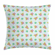 Shabby Chic Throw Pillow Cushion Cover, Polka Dotted Background with Abstract Floral Composition Vibrant Green Leaves, Decorative Square Accent Pillow Case, 46cm X 46cm , Multicolor