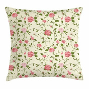 Shabby Chic Throw Pillow Cushion Cover, The Flowers of Romance and Adoration Spring Roses with Ornate Leaves, Decorative Square Accent Pillow Case, 46cm X 46cm , Pale Green Blush