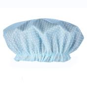 2 Pcs Reusable Polka Dots Shower Caps Double Layer Waterproof Plastic Bath Cap