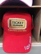 TICKET TO HEAVEN BIBLE VERSE JOHN 3:16 DO YOU HAVE YOUR TICKET Christian Hat Baseball Cap #RED