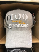 TOO BLESSED TO BE STRESSED Christian Hat Baseball Cap #grey