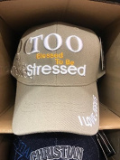 TOO BLESSED TO BE STRESSED Christian Hat Baseball Cap #STONE