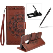 Rope Leather Case for Samsung Galaxy S9,Strap Wallet Case for Samsung Galaxy S9,Herzzer Bookstyle Classic Elegant Mandala Flower Pattern Stand Magnetic Smart Leather Case with Soft Inner for Samsung Galaxy S9 + 1 x Free Black Cellphone Kickstand + 1 x ..