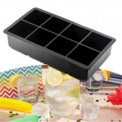Gluckliy Silicone Ice Cube Trays 8 Cavity Ice Cube Moulds Maker Pudding Jelly Mould, Black