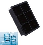 Gluckliy Silicone Ice Cube Trays 6 Cavity Ice Cube Moulds Maker Pudding Jelly Mould, Black