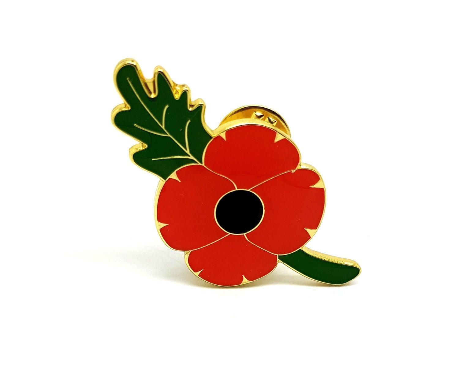 Red poppy flower with a green leaf remembrance day gift metal enamel image is loading red poppy flower with a green leaf remembrance mightylinksfo