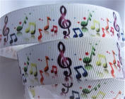 Grosgrain Ribbon - 2.2cm Wide, 10 Yards - Multi Coloured Musical Notes - Hair Bows, Hair Ties, Lanyards, Scrap Books & Musical Crafts!