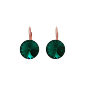 Yozone Women Simple Emerald Earring Small Drop Dangle with Crystals Hoop