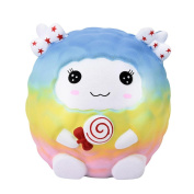 UPXIANG Squishy Jumbo Easter Rainbow Sheep Slow Rising and Scented Charm Squeeze Stress Reliever Toy for Adults