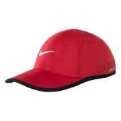 NIKE Featherlight Dri-Fit Just Do It 4-7 Baseball Hat Sun Protection Cap Red/Black Trim White Swoosh Logo