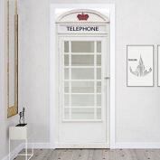 S.Twl.E Retro Fridge Magnet Creative Phone Booth Decoration Removable Wardrobe Entrance Paper Air Conditioning Renovation Of Wood Doors Film, 60X185Cm