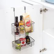 Tatkraft ON 2 Tier Over the Cabinet Door Hanging Basket Kitchen Bathroom Storage Rack Tidy Organiser