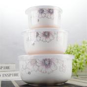 Ceramic fresh-keeping bowl three-piece set/microwave box with lid sealed refrigerator fruit case,H