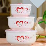 Ceramic fresh-keeping bowl three sets/microwave box fresh-keeping boxes/with lid bento Box,D