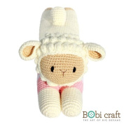 The Lazy Barbra, hand crochet toy, soft plush toy, safe gift for new born babies and children, even infants, bedtime toy for kids, designed by Bobi Craft.