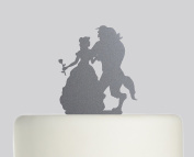 Beauty and the Beast - Acrylic Cake Topper - Silver Sparkle Acrylic