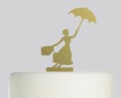 Mary Poppins - Acrylic Cake Topper - Gold Sparkle Acrylic