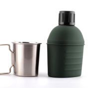 ZGBZZ 304 stainless steel lunch box, thickened large capacity 600ML, military cup 07-style cup holder, 304 stainless steel outer wall paint electrolysis thickened durable