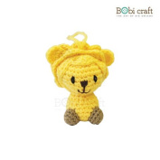 Leo Ornament, hand crochet toy, soft plush toy, safe gift for new born babies and children, even infants, bedtime toy for kids, designed by Bobi Craft.