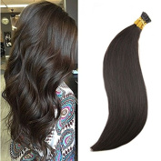 Ugeat 60cm 1G I Tip Cold Fusion Hair Extensions Per Strand 50G Per Package Dark Brown Straight Hair Extensions Pre Bonded Keratin I Tip Extensions Human Hair