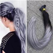 Ugeat 60cm 50Gram Human Hair Extensions Silky Straight Ombre Colour Black Fading To Silver 100% Human Hair I Tip Hair Extensions 1G/Strand