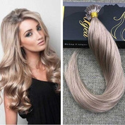 Ugeat 60cm Keratin Bonded Hair Extensions Solid Colour #18 Ash Blonde Straight I Tip Remy Brazilian Human Hair Extensions Pre Bonded Hair Extensions