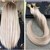 Ugeat 60cm 50G 1G/S Pre Bonded Hair Extensions Pinao Colour Stick Fusion Hair Extensions #18 Ash Blonde With Bleached Blonde #613 Human Hair Extensions Stick I Tip Extensions