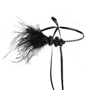LATIMOON Ostrich feather Gatsby Headpiece 1920s Flapper Rhinestone Headband Vintage Accessories