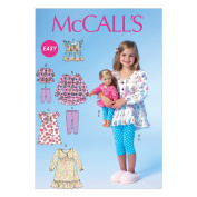 McCall Pattern Company M7043CDD Children's/Girls/46cm Doll Tops, Dresses and Leggings Sewing Template, CDD