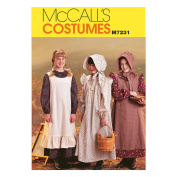 McCall's Patterns M7231 Girls' Pioneer Costumes Sewing Template, SML