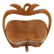 BQLZR Collapsible Pineapple Shape Bamboo Fruit Basket Folding Wood Fruit Bowl with Handle Multipurpose Decoration