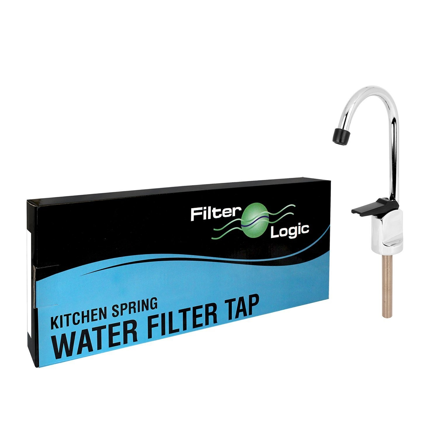 Filterlogic Faucet Kitchen Sink Drinking Water Filter Touch Tap Button Lever Stainless Steel Standard Spout Chrome