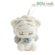 Tiny Leo The Softie, hand crochet toy, soft plush toy, safe gift for new born babies and children, even infants, bedtime toy for kids, designed by Bobi Craft.