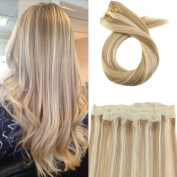 Moresoo Colourful Flip on Hair Extensions Human Hair 80 Grammes 41cm Hair Extensions Halo Human Hair Blonde Colour #14 Highlighted with #613 Wire Hair Extensions 100% Real Human Hair