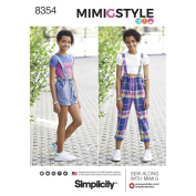 Simplicity Pattern 8354 AA Girls' & Girls Plus Overall & Cropped Knit Tee by Mimi G Style, Size 8-10-12-14-16
